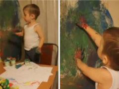 У мамы юного художника очень крепкие нервы и отличная реакция на сюрпризы