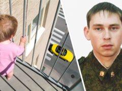 Спецназовец на лету поймал вылетевшую из окна трехлетнюю девочку